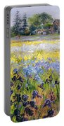 Irises And Two Fir Trees Portable Battery Charger
