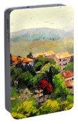 Italian Hillside Village Oil Painting Portable Battery Charger