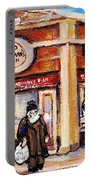 Jewish Montreal Vintage City Scenes Fish Market On Roy Street Portable Battery Charger