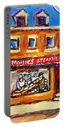 Jewish Montreal Vintage City Scenes Moishes St. Lawrence Street Portable Battery Charger