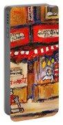Jewish Montreal Vintage City Scenes Schwartzs Original Hebrew Deli Portable Battery Charger