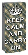 Keep Calm And Carry On Poster Print Green Brown Plaid Background Portable Battery Charger
