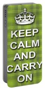 Keep Calm And Carry On Poster Print Green Plaid Background Portable Battery Charger