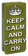 Keep Calm And Carry On Poster Print Olive Background Portable Battery Charger