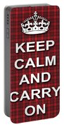 Keep Calm And Carry On Poster Print Red Black Stripes Background Portable Battery Charger