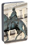 King Charles IIi Statue On Puerta Del Sol Portable Battery Charger