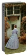 Lady In 19th Century Clothing By Conservatory Portable Battery Charger