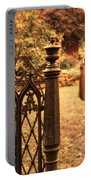 Lady In Renaissance Dress By Open Gate Portable Battery Charger