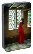 Lady In Tudor Gown Looking Out A Window Portable Battery Charger