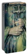 Lady In Tudor Gown With Crucifix Portable Battery Charger