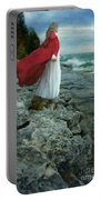 Lady In Vintage Clothing By The Sea Portable Battery Charger