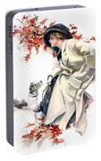 Lady With Dog Portable Battery Charger