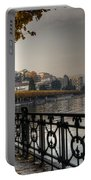 Lake Front With Autumn Trees Portable Battery Charger