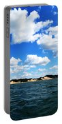 Lake Michigan Shore With Clouds Portable Battery Charger by Michelle Calkins