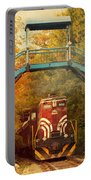 Lake Winnipesaukee New Hampshire Railroad Train In Autumn Foliage Portable Battery Charger