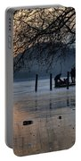 Lake With Ice In Sunset Portable Battery Charger