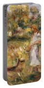 Landscape With A Woman In Blue Portable Battery Charger by Pierre Auguste Renoir