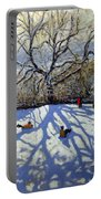 Large Tree And Tobogganers Portable Battery Charger by Andrew Macara