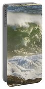 Large Waves And Seagulls Near Pemaquid Point On Maine Portable Battery Charger
