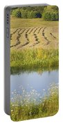 Late Summer Hay Being Harvested In Maine Canvas Poster Print Portable Battery Charger