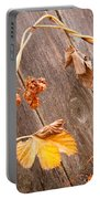 Leaf And Old Wood Fence Portable Battery Charger