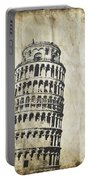 Leaning Tower Of Pisa On Old Paper Portable Battery Charger by Setsiri Silapasuwanchai