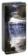 Letchworth State Park Middle Falls With Watercolor Effect Portable Battery Charger