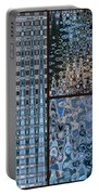 Light Blue And Brown Textural Abstract Portable Battery Charger