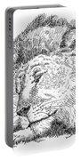 Lion-art-black-white Portable Battery Charger