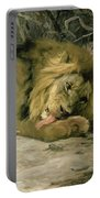 Lion Reclining In A Landscape Portable Battery Charger