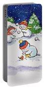 Little Snowmen Snowballing Portable Battery Charger