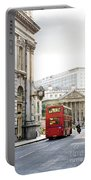 London Street With View Of Royal Exchange Building Portable Battery Charger