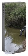 Lone Zebra At The Drinking Hole Portable Battery Charger