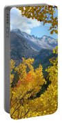 Long's Peak And The Keyboard Of The Winds Amidst Aspen Gold Portable Battery Charger by Margaret Bobb