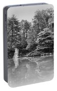 Longwood Gardens Castle In Black And White Portable Battery Charger