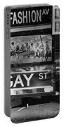 Lunch Time Between Fashion Ave And Gay St In Black And White Portable Battery Charger by Rob Hans