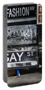 Lunch Time Between Fashion Ave And Gay Street Portable Battery Charger by Rob Hans