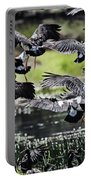 Magpie Geese In Flight Mcminn Lagoon Portable Battery Charger