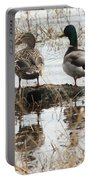 Mallard Ducks Standing On A Rock Portable Battery Charger