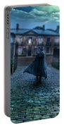 Man In Top Hat And Cape On Cobblestone Street Portable Battery Charger