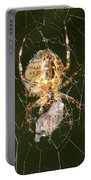 Marbled Orb Weaver Spider Eating Portable Battery Charger