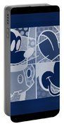 Mickey In Negative Deep  Blue Portable Battery Charger