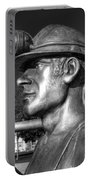 Miner Statue Monochrome Portable Battery Charger