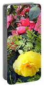 Mixed Ranunculus In A Hanging Basket Portable Battery Charger