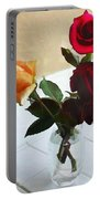 Mixed Roses In Crystal Vase Portable Battery Charger