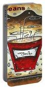 Mocha Beans Original Painting Madart Portable Battery Charger by Megan Duncanson