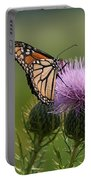 Monarch Butterfly On Bull Thistle Wildflowers Portable Battery Charger
