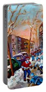 Montreal Hockey Paintings Portable Battery Charger