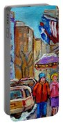 Montreal Street Scenes In Winter Portable Battery Charger by Carole Spandau