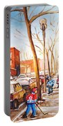 Montreal Street With Six Boys Playing Hockey Portable Battery Charger